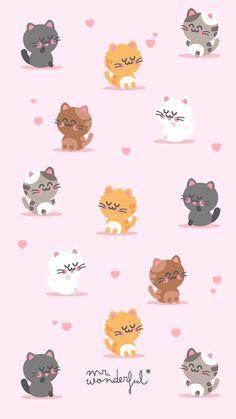 ideas cats wallpaper cute kitty for 2019 Gatos Wallpapers, Wallpaper Gatos, Cat Wallpaper, Kawaii Wallpaper, Cute Cartoon Wallpapers, Pastel Wallpaper, Animal Wallpaper, Tumblr Wallpaper, Screen Wallpaper