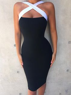 Shop Contrast Color Halter Crisscross Party Dress – Discover sexy women fashion at Boutiquefeel Dresses Short, Tight Dresses, Sexy Dresses, Evening Dresses, Formal Dresses, Wedding Dresses, Cheap Dresses, Casual Dresses, Dresses Elegant
