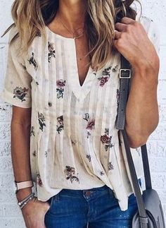 Find WLLW Women Bohemian Short Sleeve V Neck Floral Print T Shirt Tops Blouse Tee online. Shop the latest collection of WLLW Women Bohemian Short Sleeve V Neck Floral Print T Shirt Tops Blouse Tee from the popular stores - all in one Summer Outfits, Casual Outfits, Summer Dresses, Casual Clothes, Petite Dresses Casual, Casual Wear, Spring Outfits Women Casual, Womens Fashion Casual Summer, Vacation Dresses