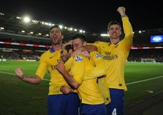 Cardiff City 0 Arsenal 3 - The boys celebrate.