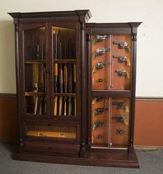 Custom 12 Gun Cherry Knife And Pistol Display | GunSafe   Amish Custom Gun  Cabinets