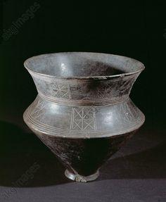 Engraved keel-shaped terracotta vessel, Marson, France, 5th century BCE