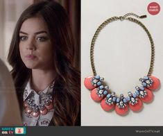 Aria's pink necklace on Pretty Little Liars.  Outfit Details: http://wornontv.net/44757/ #PLL