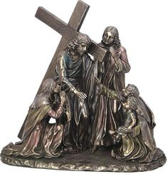 Jesus with Cross in Bronze Via Dolorosa Way Of Suffering Religious Figurine Statue Sculpture-Home Décor-Decorations-Christian Related Gifts-Available for Sale at AllSculptures.com