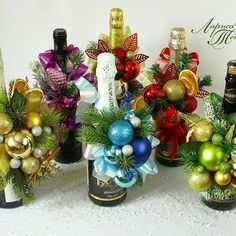 Christmas Holidays, Christmas Crafts, Christmas Ornaments, Christmas Centerpieces, Christmas Decorations, Christmas Gift Baskets, Xmas Wreaths, Wine Bottle Crafts, Holidays And Events