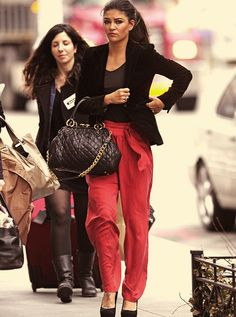 Jessica Szohr- I love the loose pants with the fitted blazer!