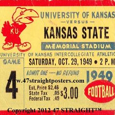 1949 Kansas State vs. Kansas Football Ticket Coasters.™ Christmas football gifts made from authentic game tickets. http://www.shop.47straightposters.com/Christmas-Football-Gifts_c68.htm Christmas football gifts!