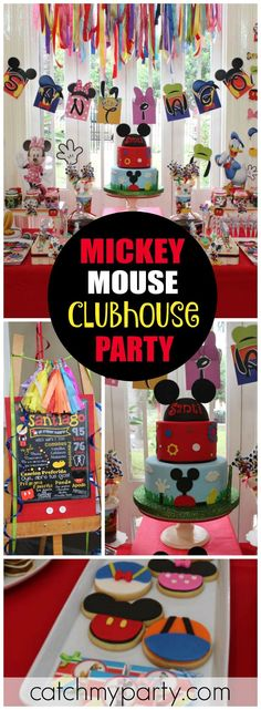 Mickey Mouse Clubhouse party looks like so much fun! See more party ideas at ! Minnie Y Mickey Mouse, Fiesta Mickey Mouse, Mickey Mouse First Birthday, Mickey Mouse Parties, Mickey Party, Pirate Party, Disney Mickey, Mickey Mouse Clubhouse Birthday Party, 1st Birthday Parties