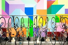 """""""Bikes in our Bike Room (the mural was also painted by employees during Hack Week)"""" Etsy   Glassdoor Photos"""