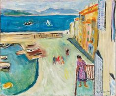"lilithsplace: ""The end of the harbour of Saint-Tropez. Figure on the balcony, 1953 Charles Camoin "" Saint Tropez, Building Art, Henri Matisse, City Art, Beach Art, Book Illustration, Painting & Drawing, Art Projects, Drawings"