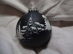 Nightscape Hand painted Christmas ornament by jusbclause on Etsy, $8.50