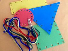 Craft foam threading shapes- Cut shapes(or use pre cut pictures) and make holes around the shapes/pics. Attach tooth picks(sharp points cut off) to yarn to make threading easier.