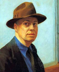 """Edward Hopper - self-portrait""""In its most limited sense, modern art would seem to concern itself only with the technical innovations of the period. Self Portrait Drawing, Pencil Portrait, American Realism, American Art, American Life, Pop Art Vintage, Edward Hopper Paintings, Selfies, Whitney Museum"""