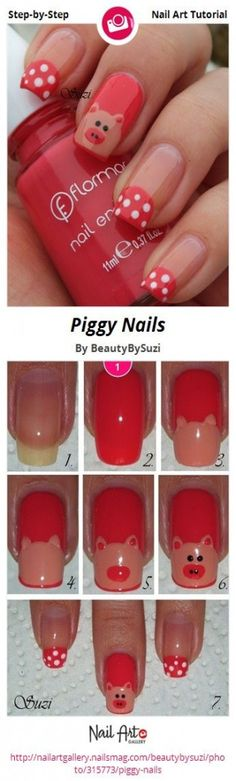 Piggy Nails por BeautyBySuzi - Nail Art Gallery Tutoriais passo-a-passo nailartgal . Beginner Nail Designs, New Nail Designs, Acrylic Nail Designs, Nail Polish Art, New Nail Art, Pig Nails, Zebra Print Nails, Animal Nail Art, Nails For Kids