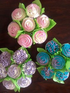 Give your sweetie a Cupcake Bouquet Cupcakes Design, Fancy Cupcakes, Pretty Cupcakes, Beautiful Cupcakes, Baking Cupcakes, Cupcake Cakes, Bridal Shower Cupcakes, Wedding Cupcakes, Wedding Cake