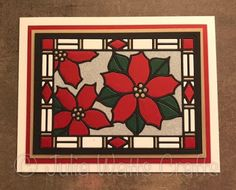 handmade Christmas card from Inky Finger Zone ... used Sue Wilson;s Stained Glass Window die ... inlaid die cut pieces ... black lines ... red and green poinsettias ... gold and pearl fill ... luv it!