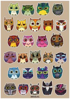 Colorful little owls.