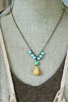 Isabelle. gemstone.beaded.bohemian necklace. by tiedupmemories, $36.00