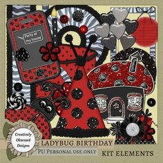 Ladybug Birthday is a fun, party themed line of products. Perfect for ladybug or zebra parties, big girls, little ladies, summer outings, a trip to the zoo, red black and/or white layouts, and so m...