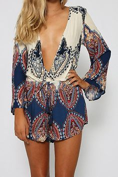 Plunging Neck Printed Long Sleeve Romper