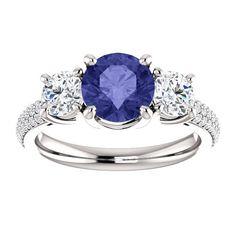Tanzanite Diamond Engagement Ring 14k White