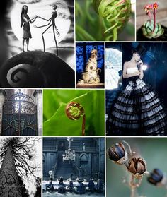 """A collection of """"Tim Burton"""" wedding ideas- I LOVE the dress, the spirals, the colors, the shapes."""