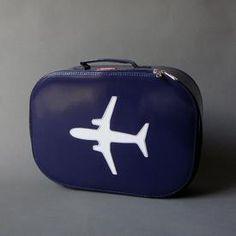 must diy for Max  (vintage suitcase + plane stencil + craft paint)