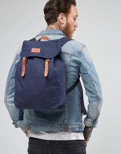 Image 3 ofASOS Backpack In Navy Canvas