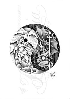 pigma micron and pencil Shadow work of Guido Reni's St. Michael with a custom union jack background for a half sleeve tattoo commission This is a PAID COMMISSION DESIGN, please DON'T use i. Ying Yang Tatuaje, Good And Evil Tattoos, Angel Demon Tattoo, Chicano Style Tattoo, Balance Tattoo, Fighting Demons, Yin Yang Art, Yin Yang Tattoos, Dark Art Tattoo