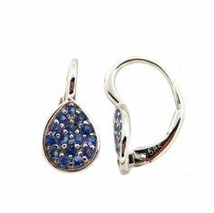 14 karat white gold, sapphire leverback earring