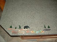 inlayed concrete countertop