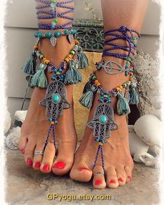 Your place to buy and sell all things handmade - Purple HAMSA hand BAREFOOT sandals TASSEL Dance foot jewelry Toe Ankle wrap sandal Summer Fun Ethni - Boho Gypsy, Hippie Boho, Gypsy Style, Bohemian Jewelry, Boho Style, Boho Chic, Surf Style, Ankle Wrap Sandals, Bare Foot Sandals