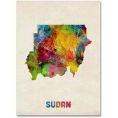 Trademark Fine Art 'Sudan Watercolor Map' Canvas Art by Michael Tompsett, Multi