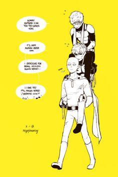 One Punch Man - Mumen Rider, Genos and Saitama Saitama One Punch Man, One Punch Man Anime, One Punch Man Funny, Caricatures, Genos X Saitama, Saitama Sensei, Caped Baldy, Male Cosplay, The Villain