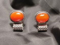 Burnt Orange Cabochon Glass Stone Wrap Cuff Links by DresdenCreations, $13.50