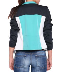 Colour block aqua collarless jacket Sale - Street Vogue