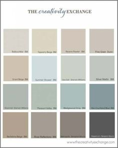 Little French Farmhouse - popular paint colors. All blend well with Annie Sloan chalk paint (furniture colors) Kitchen Paint Colors, Bathroom Paint Colors, Wall Paint Colors, Paint Colors For Living Room, Bedroom Colors, Stain Colors, Bedroom Ideas, Bedroom Decor, Revere Pewter