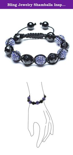 Bling Jewelry Shamballa Inspired Black and Blue 12mm Beads Bracelet Alloy. September born guys or gals would love to receive this Simulated Sapphire blue crystal jewelry. Black and blue look brilliant on both men and women, and the adjustable fitting on this unisex piece gives it a custom fit for any wrist large or small. This September birthstone jewelry has faceted black Simulated Onyx beads alternating with Simulated Sapphire blue disco ball beads for a look that is bold and…