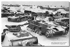 With no spares, no fuel and no ammunition to assist in the final battles, Panzers lie abandoned in the Stalingrad pocket after the German surrender, February 1943.