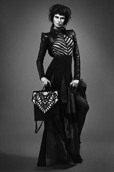 Dress Dina Jsr, Leather Jacket Jen Kao, Necklace Sonia Boyajian, Bag Jen Kao, Tights Wolford, Shoes Alain Quilici