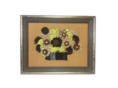 Framed Vintage Crewel Yarn Needlework Floral by JacobandCharlies