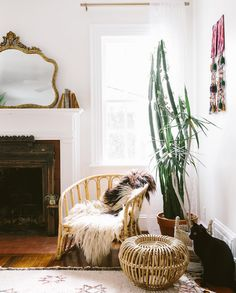 my scandinavian home: vintage rattan in the wonderful, relaxed boho-style sitting room of Carley Summers.