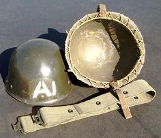 Headgear - Original SADF C.J Fuchs 1963 Staaldak, Web belt & Waterbottle for sale in Vereeniging (ID:190194034)