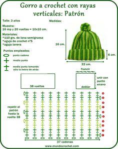 Gorro a crochet rayas verticales - Gorro a crochet principiantes