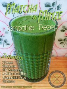 Rezepteflyer: Grüner Smoothie mit Matcha, Minze, Ananas, Orange und Babyspinat loose weight overnight