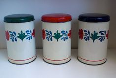 "TOMADO, Set of three Canisters, decor ""Boerenbont"",Blue, Red, Green , made in Holland, vintage 1970 door VasioniVintage op Etsy"
