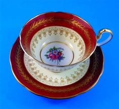 Deep Red and Gold with Floral Center Aynsley Tea Cup and Saucer Set