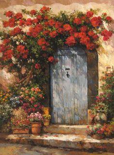 Kapı ve çiçekler