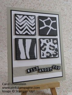 Wild About You -- Go Wild Designer Series Paper Stack and Alphabet Rotary Stamp; Sept 2015 Card Class; Carol Lovenstein www.pinkstampagne.com; Stampin' Up! Card Idea