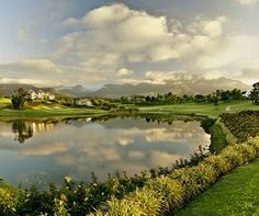 The lush green countryside of Fancourt Hotel in George